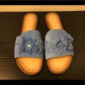 Mariella Blue Suede Slides